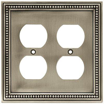 Brainerd 64768 Beaded Double Duplex Outlet Wall Plate Switch Plate