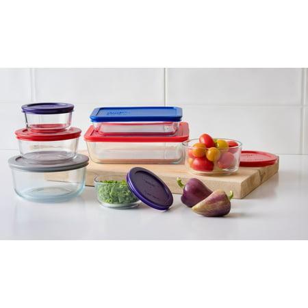 Pyrex Simply Store Glass Bakeware Set, 14 Piece (Amish Butterprint Pyrex)