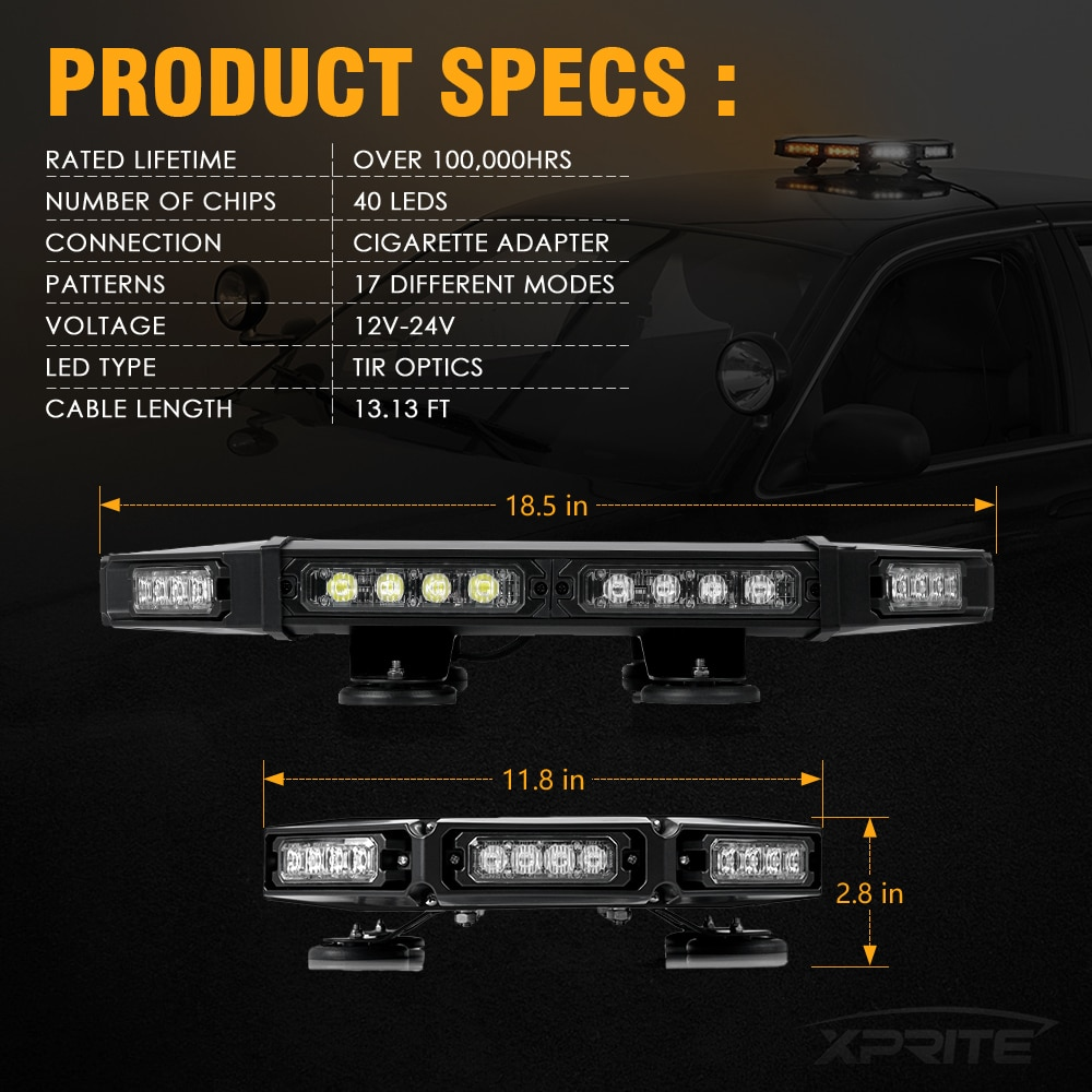 Xprite Black Hawk Mini 18 Professional Amber LED Stealth Low Profile Law Enforcement and Security Magnetic Roof Top Strobe Light Bar