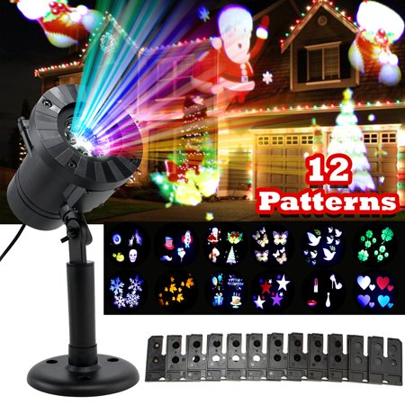 Christmas Projector Lights, EEEKit 12 Slides Moving LED Projector Landscape Lamp Waterproof Outdoor Indoor for Xmas, Halloween, Party, Holiday, Garden Decorations ()