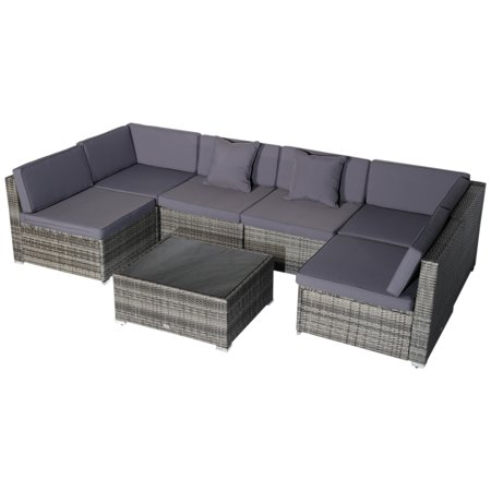Outsunny 7-Piece Outdoor Wicker Patio Sofa Set, Modern Rattan Conversation Furniture Set with Cushions, Pillows and Tea Table