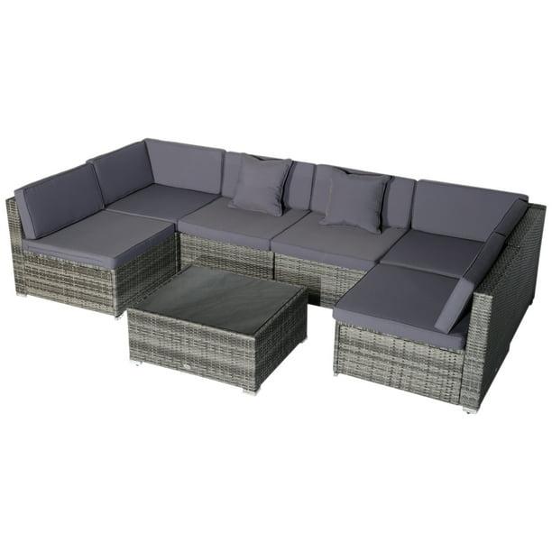 7 Piece Outdoor Wicker Patio Sofa Set, Outsunny Outdoor Furniture