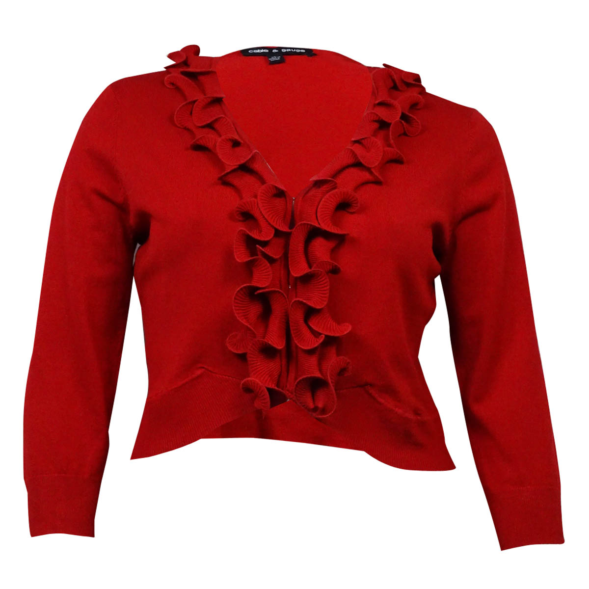 Cable & Gauge Women's Ruffled Long Sleeves Cropped Knit Cardigan