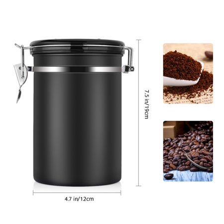 Coffee Stainless Steel Container - Canister with co2 Valve, Stainless Steel Coffee and Food Storage Canister