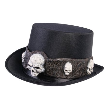 Gothic Black Wizard Steampunk Warlock Hat Top Hat W/ Skulls Costume Accessory - Top Hat Costume