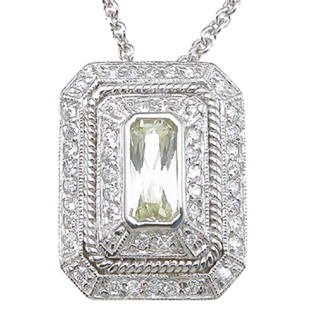 Plutus kkp6412 925 Sterling Silver Rhodium Finish CZ Brilliant Locket Antique Style Necklace