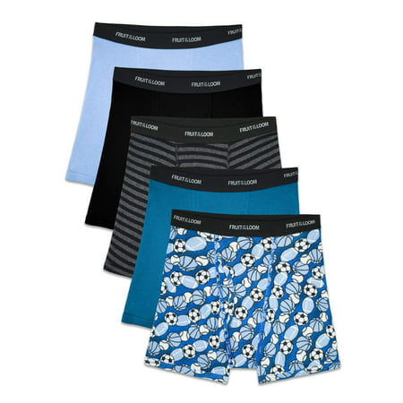 Boys Blues Boxer Brief (Fruit of the Loom Boys Boxer Briefs, 5 Pack, Small)