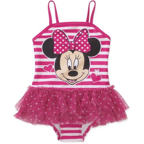 Disney Minnie Mouse Baby Toddler Girl Stripe Tutu Swimsuit