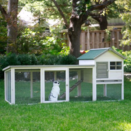 Boomer & George White Wash Outdoor Rabbit Hutch with Extended Run