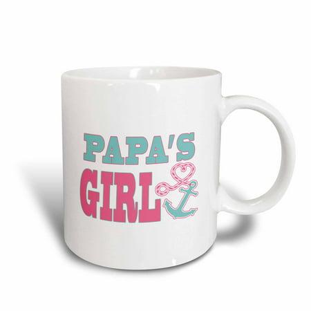 3dRose Papas Girl Cute Anchor and Heart Rope Pink and Aqua, Ceramic Mug, 15-ounce - Aqua Girl