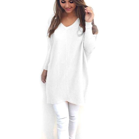Solid V-neck Women Autumn Sweaters Long-sleeve Pullovers Tops Loose Blouse