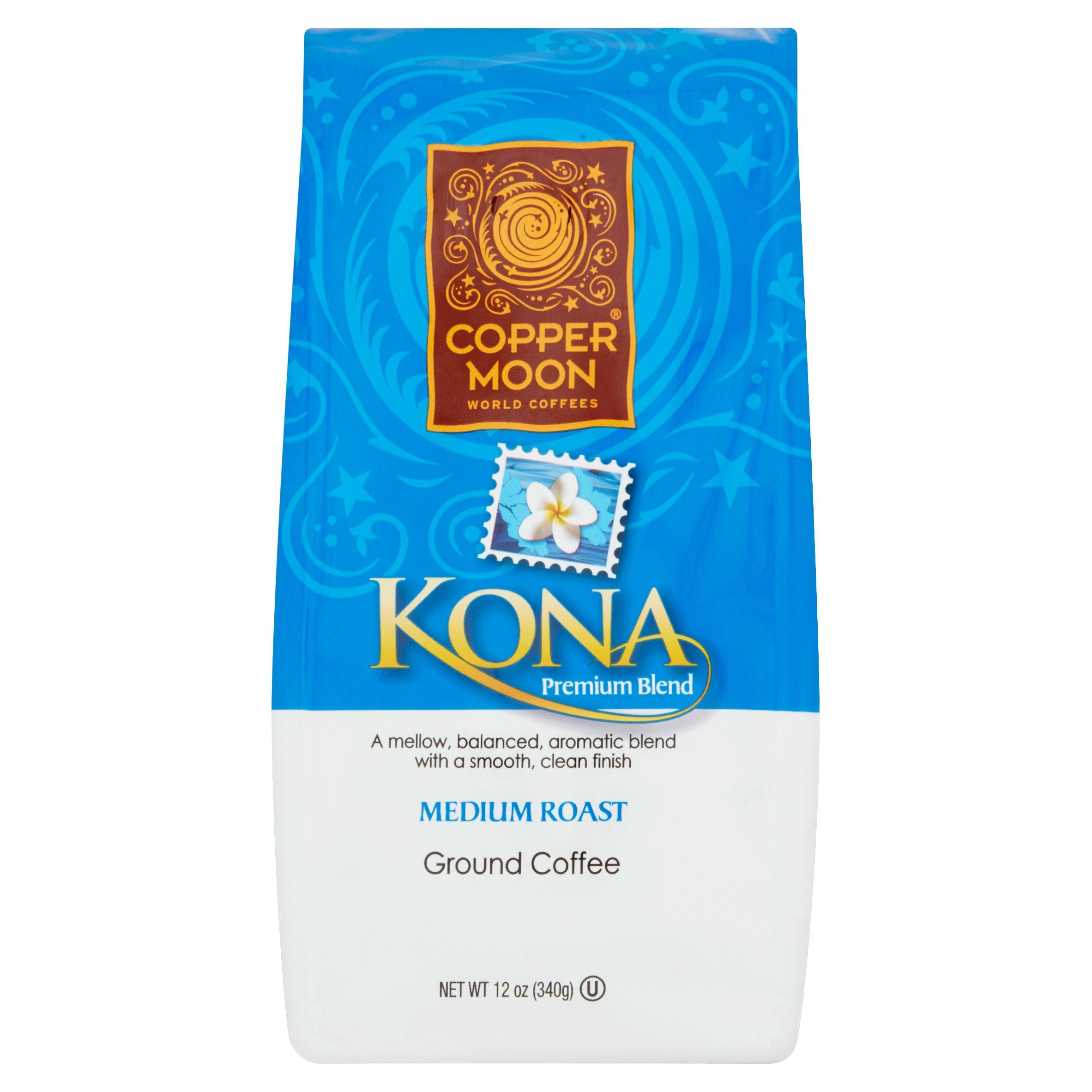 Copper Moon World Coffees Kona Premium Blend Medium Roast Ground Coffee, 12 oz