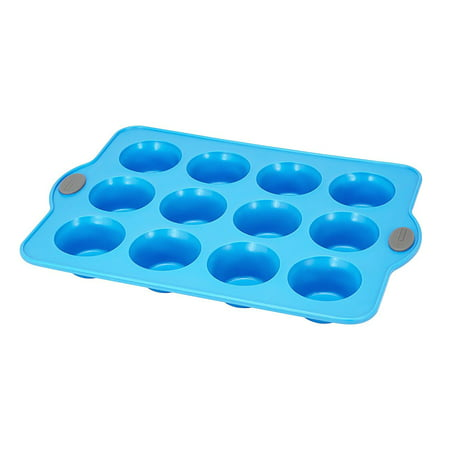 Crystal Bake Silicone Muffin And Cupcake Baking Pan   12 Cup  Blue