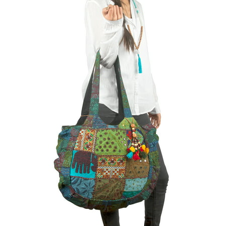 Floral Embroidered Blue Shoulder Tote Bag Boho Gypsy Hippie Cotton Lightweight Roomy Spacious Cute - Floral Embroidered Tote