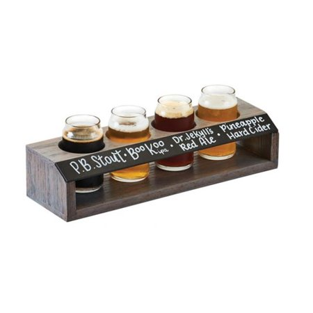 Cal Mil 3824 4-Hole Gray Wood Taster Flight with Chalkboard Front - 13 x 4 x 2.75 in.