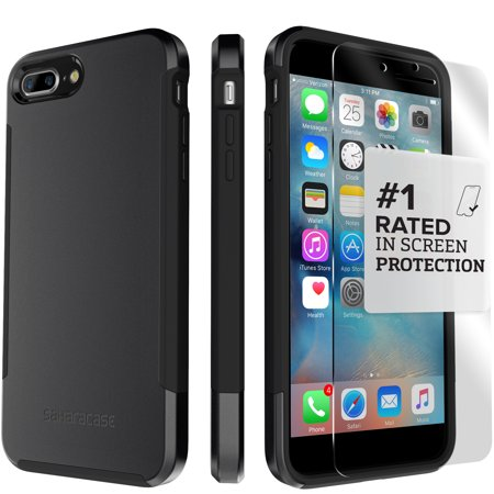 SaharaCase iPhone 8 Plus and 7 Plus Inspire Case, Protective Kit Bundle with ZeroDamage Tempered Glass Screen Protector - Black