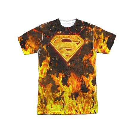 Superman Men's  Fire Logo  Sublimation T-shirt White (Sloth Superman Shirt)