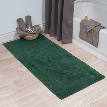 Somerset Home 100% Cotton Reversible Long Bath Rug - Green - - 100% Cotton Rag