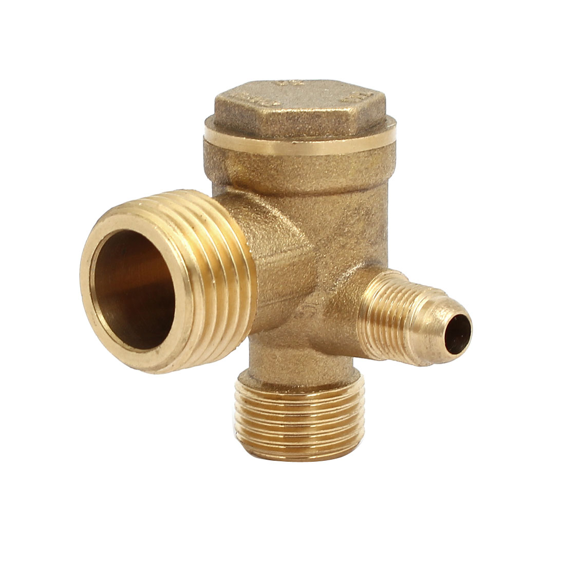 Unique Bargains 20mmx19mmx10mm Male Threaded Brass Air Gas Compressor Check Valve Gold Tone - image 1 of 2