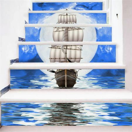 Stair Wall Sticker Home Decor DIY Rivers Landscape Theme Decor Sticker Wall Paper - image 3 de 4
