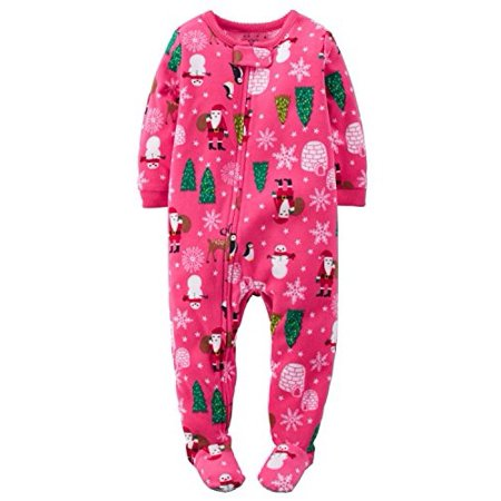 Carter's Little Girls Fleece Pajamas (3T, Pink Holiday Print)