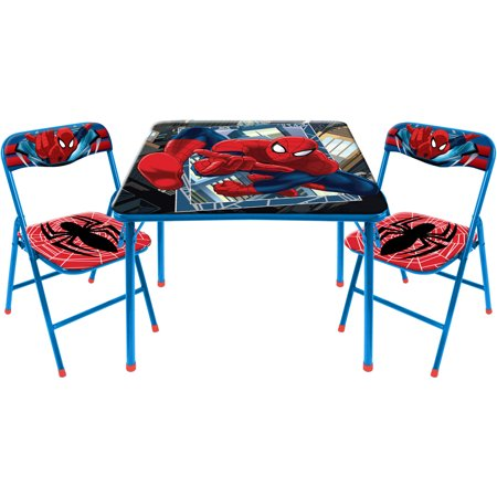 marvel spider man 3 piece square table and chair set. Black Bedroom Furniture Sets. Home Design Ideas