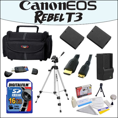 "Accessory Starter Package For Canon EOS Rebel T3 With 48"" Professional Travel Tripod, Gadget Bag, 16GB SDHC High Speed Memory Card and More!"
