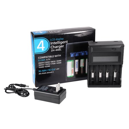 Unique Bargains US Plug AC100-240V Rechargeable Li-ion/Ni-MH Battery Charger LCD Display 4-Slots - image 2 de 7
