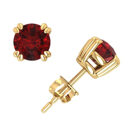 1.00Ct Round Ruby Basket Stud Earrings 14k Yellow Gold Double Prong Commercial Quality