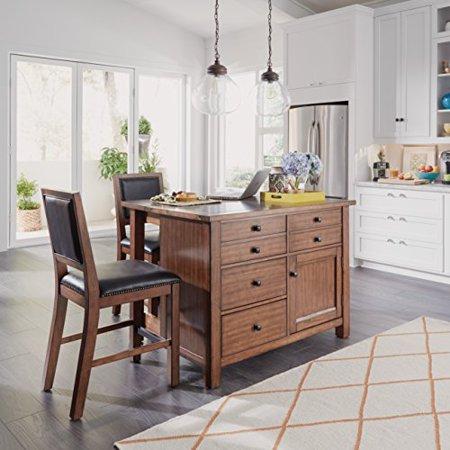 Sensational Tahoe Quartz Top Kitchen Island And 2 Stools Walmart Com Andrewgaddart Wooden Chair Designs For Living Room Andrewgaddartcom