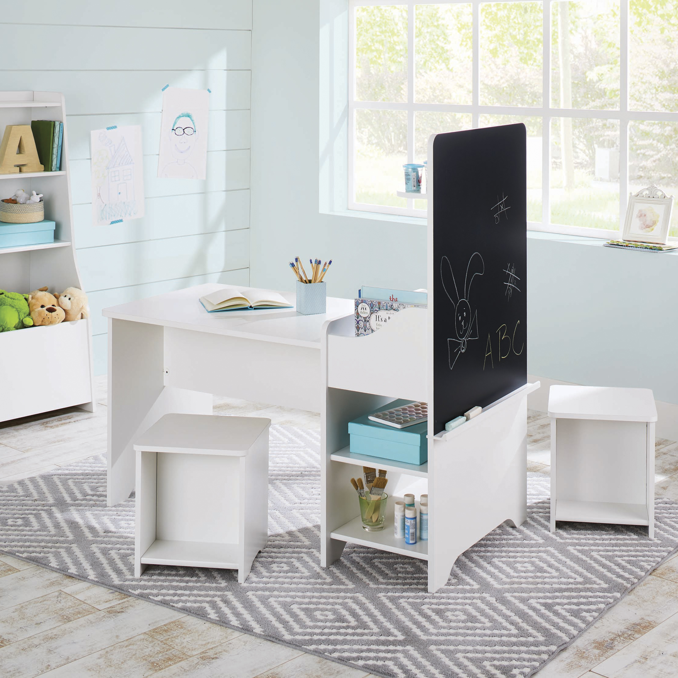 Better Homes & Gardens Cartwheel Activity Center with Chalkboard, White Finish