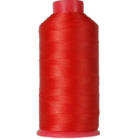 Threadart Heavy Duty Bonded Nylon Thread - 1650 yards (1500m) - Coated No Unravel - #69 T70 Size 210D/3 - For Upholstery, Leather, Vinyl, and Other Heavy Fabric - 26 Colors Available - Red-Orange Quilted Nylon Fabric