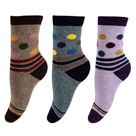 Peach Couture Warm Vintage Style Cotton Wool Knitting Colorful Crew Socks in Packs (Cotton Wool Socks)