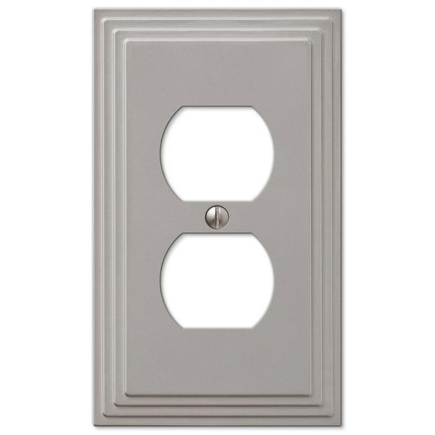Step Design Duplex Wall Switch Plate Outlet Cover Satin Nickel Walmart Com Walmart Com