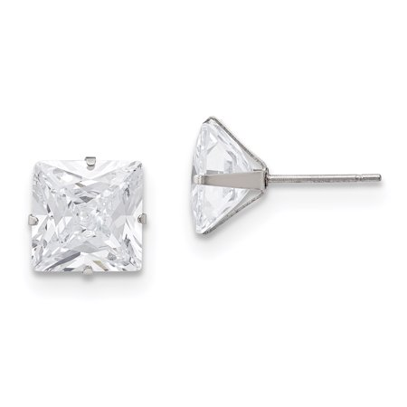 Stainless Steel Polished 10mm Square CZ Stud Post Earrings