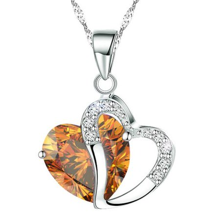 KATGI Fashion Austrian Citrine Crystal Heart Shape Pendant Necklace, 18