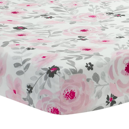 Bedtime Originals Blossom Pink/Gray Watercolor Floral Baby Fitted Crib Sheet