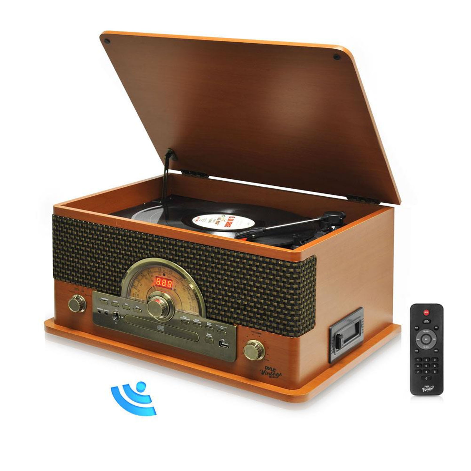 Pyle Vintage Retro Classic Style BT Turntable System with Vinyl/MP3 Recording Ability - Wood Style