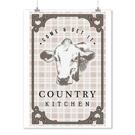 Country Kitchen - Cow on Plaid - Lantern Press Artwork (9x12 Art Print, Wall Decor Travel Poster)
