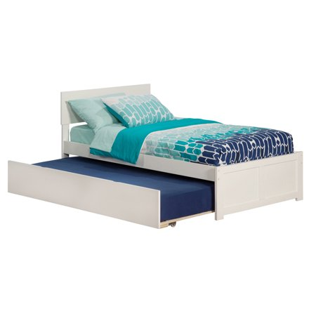 Orlando Twin Platform Bed with Flat Panel Foot Board and Twin Size Urban Trundle Bed in White ()