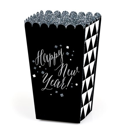 New Year's Eve - Silver - New Years Eve Party Popcorn Favor Boxes - Set of 12](Black Popcorn Boxes)