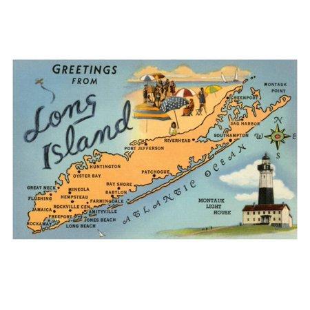 Greetings from Long Island, New York, Map Vintage Retro Coastal Travel Print Wall Art