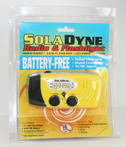 Click here to buy SolaDyne Solar Powered Emergency Radio & Flashlight for Storms & Tornadoes.