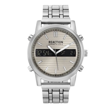 Kenneth Cole New York Silver Dial Watch - Kenneth Cole Reaction Men's Function Silver Case, Grey Dial And Silver Bracelet Watch