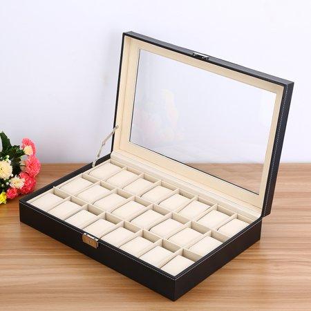 Tebru Watch Case, 24 Grid Watch PU Leather Display Case Storage Jewellery Box Bracelet Tray Holder, Watch Box
