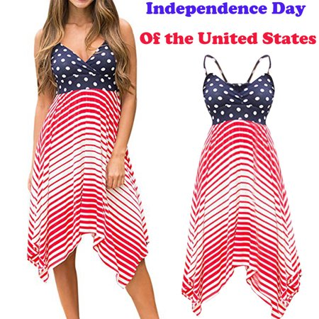 Independence Day Women's Spring Summer Strap Sling Dress (4th Of July Dress)