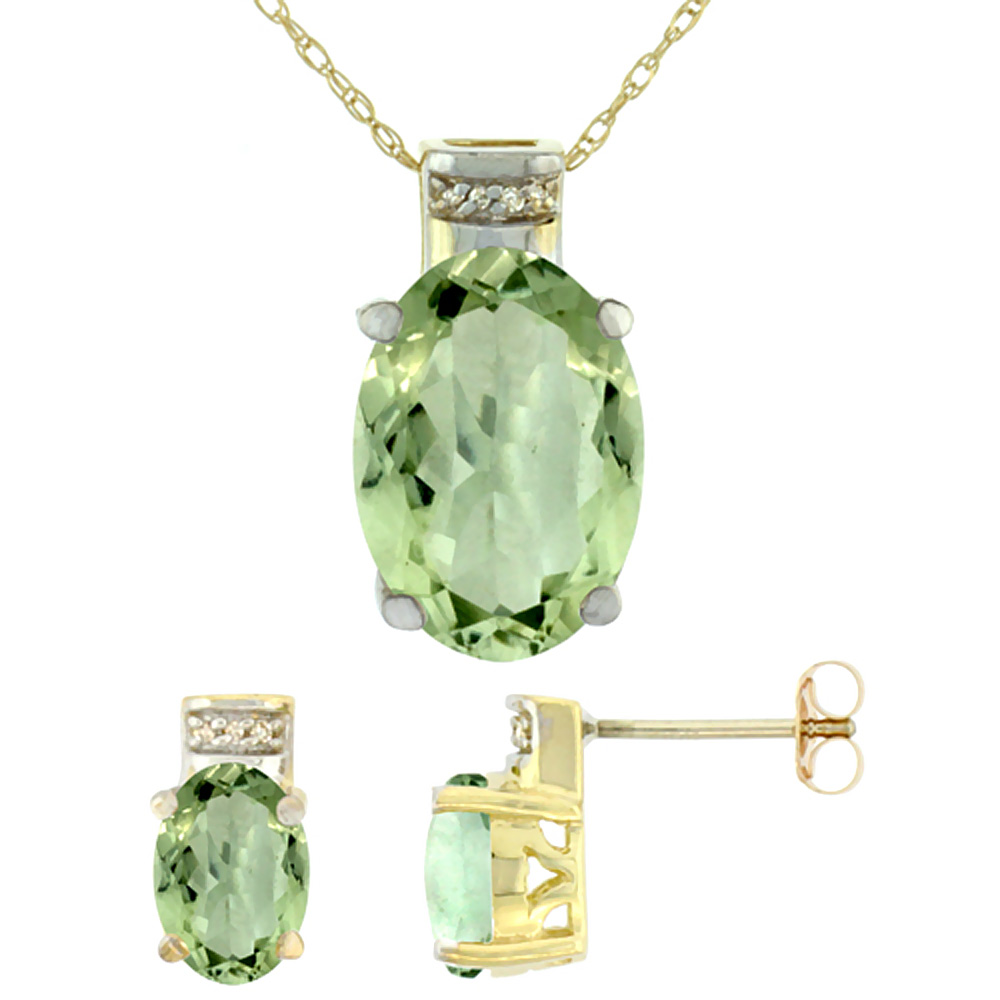 10K Yellow Gold Natural Oval Green Amethyst Earrings & Pendant Set Diamond Accents by WorldJewels
