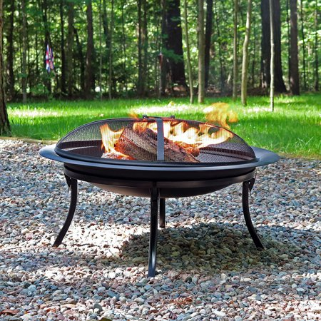 Sunnydaze Portable Fire Pit Bowl With Spark Screen And Carrying Case Folding Outdoor Patio