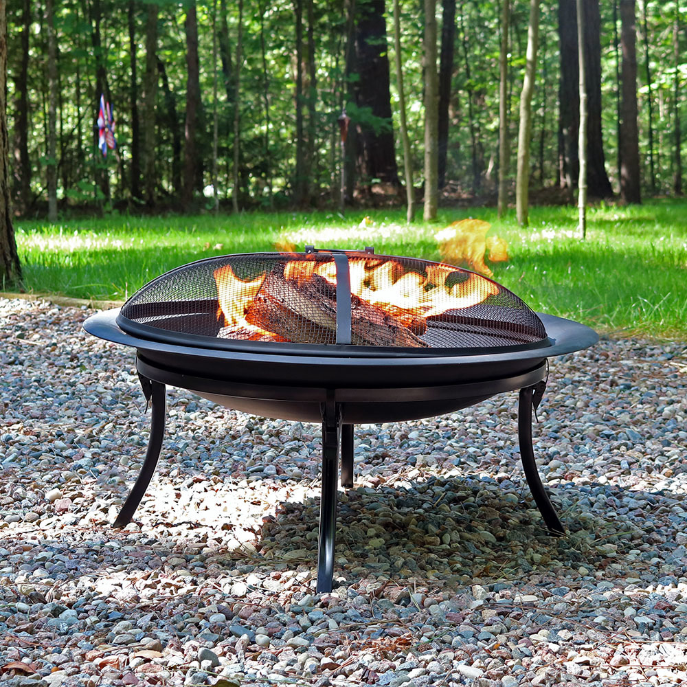 Sunnydaze Portable Fire Pit Bowl with Spark Screen and Carrying Case, Folding Outdoor Patio and Camping Wood Burning Fireplace, 29 Inch