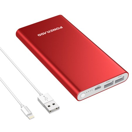 Poweradd Pilot 4GS 12000mAh Power Bank 3A Dual USB Ports External Battery Portable Charger for iPhone iPad Samsung Galaxy Mobile Cellphone with Lightning 8-Pin Cable